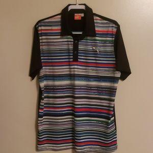 *Puma* ~Golf polo ~ Dry cell ~ black/striped~Sz M